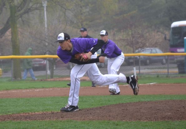 A's pitcher Jack Larsen releases a pitch during the 2011 WIAC Championships